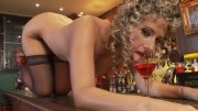 Solo pussy play on the bar counter
